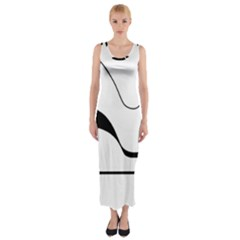 Waves   Black And White Fitted Maxi Dress by Valentinaart