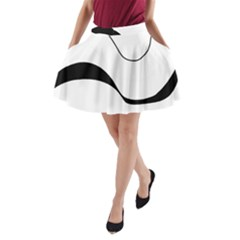 Waves   Black And White A Line Pocket Skirt by Valentinaart