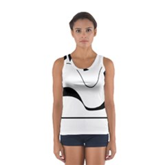 Waves   Black And White Women s Sport Tank Top  by Valentinaart