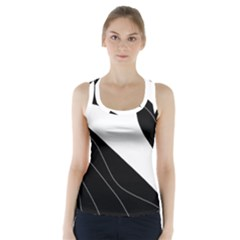 White And Black Decorative Design Racer Back Sports Top by Valentinaart
