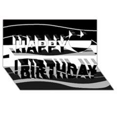 Black Light Happy Birthday 3d Greeting Card (8x4) by Valentinaart