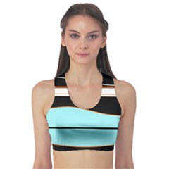 Cyan, Black And White Waves Sports Bra by Valentinaart
