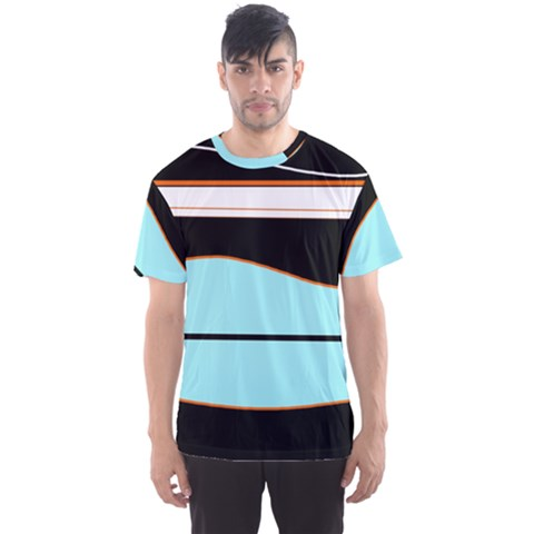 Cyan, Black And White Waves Men s Sport Mesh Tee by Valentinaart