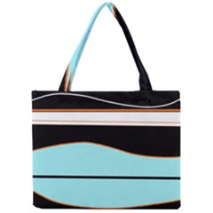 Cyan, Black And White Waves Mini Tote Bag by Valentinaart