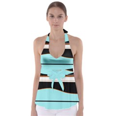 Cyan, Black And White Waves Babydoll Tankini Top by Valentinaart