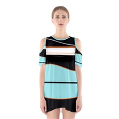 Cyan, Black And White Waves Cutout Shoulder Dress