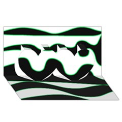 Green, White And Black Twin Hearts 3d Greeting Card (8x4) by Valentinaart