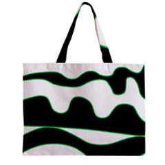 Green, White And Black Zipper Mini Tote Bag by Valentinaart