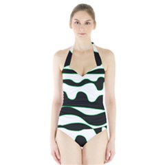 Green, White And Black Halter Swimsuit by Valentinaart