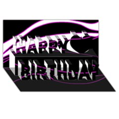 Purple, White And Black Lines Happy Birthday 3d Greeting Card (8x4) by Valentinaart