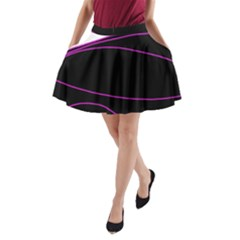 Purple, White And Black Lines A Line Pocket Skirt
