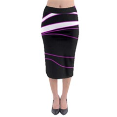 Purple, White And Black Lines Midi Pencil Skirt by Valentinaart