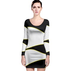Yellow, Black And White Long Sleeve Bodycon Dress by Valentinaart