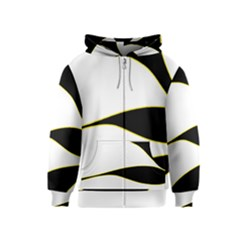 Yellow, Black And White Kids  Zipper Hoodie by Valentinaart