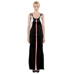 White, Red And Black Maxi Thigh Split Dress by Valentinaart