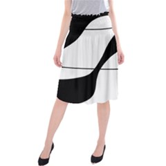 White And Black Shadow Midi Beach Skirt by Valentinaart