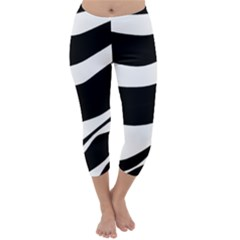 White Or Black Capri Winter Leggings  by Valentinaart