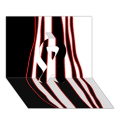 White, Red And Black Lines Ribbon 3d Greeting Card (7x5) by Valentinaart