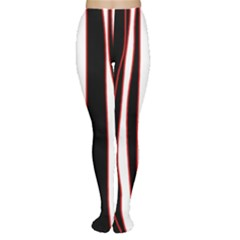 White, Red And Black Lines Women s Tights by Valentinaart
