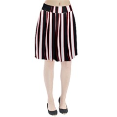 White, Red And Black Lines Pleated Skirt by Valentinaart