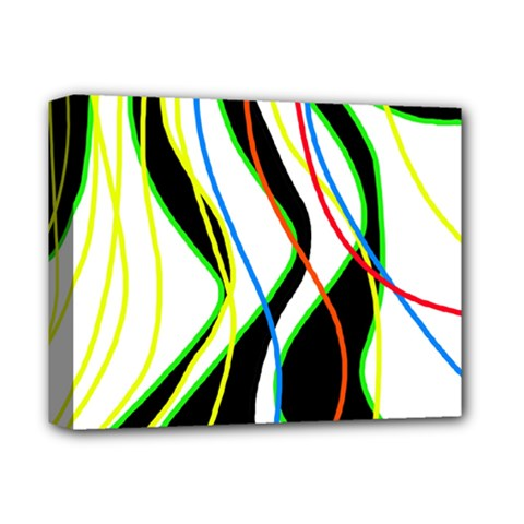 Colorful Lines   Abstract Art Deluxe Canvas 14  X 11  by Valentinaart