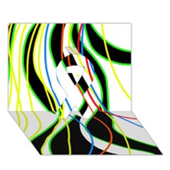 Colorful Lines   Abstract Art Ribbon 3d Greeting Card (7x5) by Valentinaart