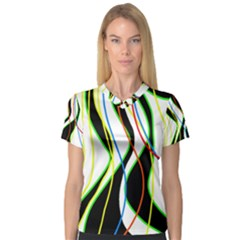 Colorful Lines   Abstract Art Women s V Neck Sport Mesh Tee by Valentinaart
