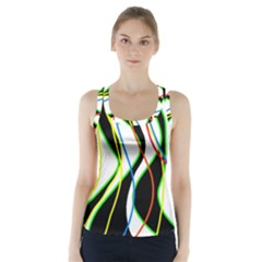 Colorful Lines - Abstract Art Racer Back Sports Top by Valentinaart
