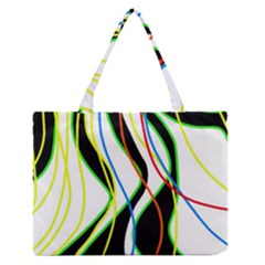 Colorful Lines   Abstract Art Medium Zipper Tote Bag by Valentinaart