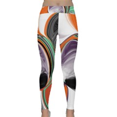 Abstract Orb In Orange, Purple, Green, And Black Yoga Leggings