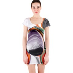 Abstract Orb In Orange, Purple, Green, And Black Short Sleeve Bodycon Dress