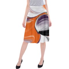 Abstract Orb In Orange, Purple, Green, And Black Midi Beach Skirt by digitaldivadesigns
