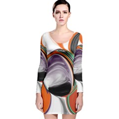 Abstract Orb In Orange, Purple, Green, And Black Long Sleeve Velvet Bodycon Dress