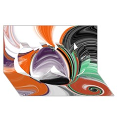Abstract Orb In Orange, Purple, Green, And Black Twin Hearts 3d Greeting Card (8x4)