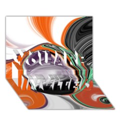 Abstract Orb In Orange, Purple, Green, And Black You Are Invited 3d Greeting Card (7x5)