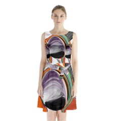 Abstract Orb In Orange, Purple, Green, And Black Sleeveless Chiffon Waist Tie Dress