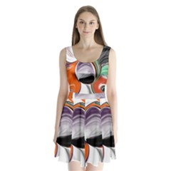 Abstract Orb In Orange, Purple, Green, And Black Split Back Mini Dress