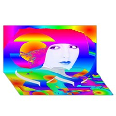 Abstract Color Dream Twin Heart Bottom 3d Greeting Card (8x4)