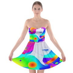 Abstract Color Dream Strapless Bra Top Dress