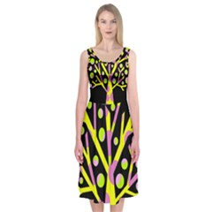 Simple Colorful Tree Midi Sleeveless Dress by Valentinaart