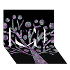 Purple Magical Tree I Love You 3d Greeting Card (7x5) by Valentinaart