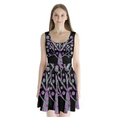 Purple Magical Tree Split Back Mini Dress