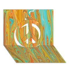 Beautiful Abstract In Orange, Aqua, Gold Peace Sign 3d Greeting Card (7x5) by digitaldivadesigns