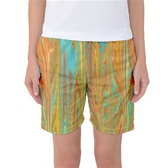 Beautiful Abstract In Orange, Aqua, Gold Women s Basketball Shorts by digitaldivadesigns