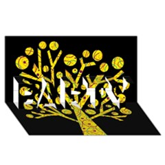 Yellow Magical Tree Party 3d Greeting Card (8x4) by Valentinaart