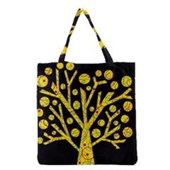 Yellow Magical Tree Grocery Tote Bag by Valentinaart