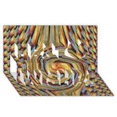 Gold Blue And Red Swirl Pattern Best Wish 3d Greeting Card (8x4) by digitaldivadesigns