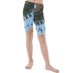 Sun Ray Swirl Design Kids  Mid Length Swim Shorts