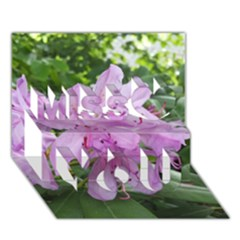Purple Rhododendron Flower Miss You 3d Greeting Card (7x5) by picsaspassion