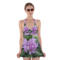 Purple Rhododendron Flower Halter Swimsuit Dress by picsaspassion